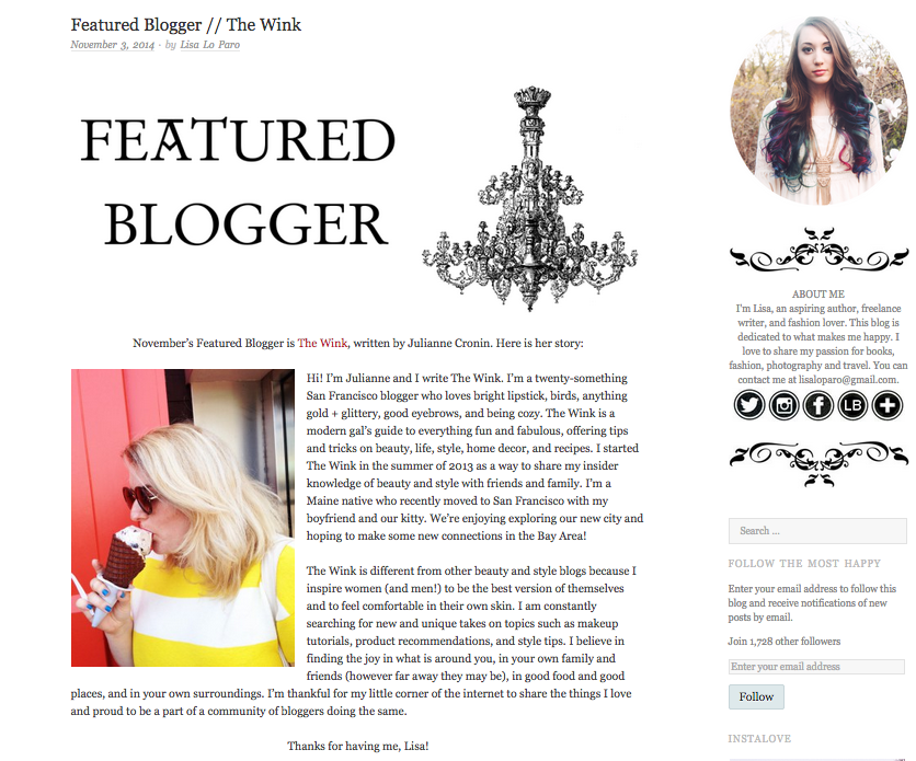 Featured Blogger:The Most Happy