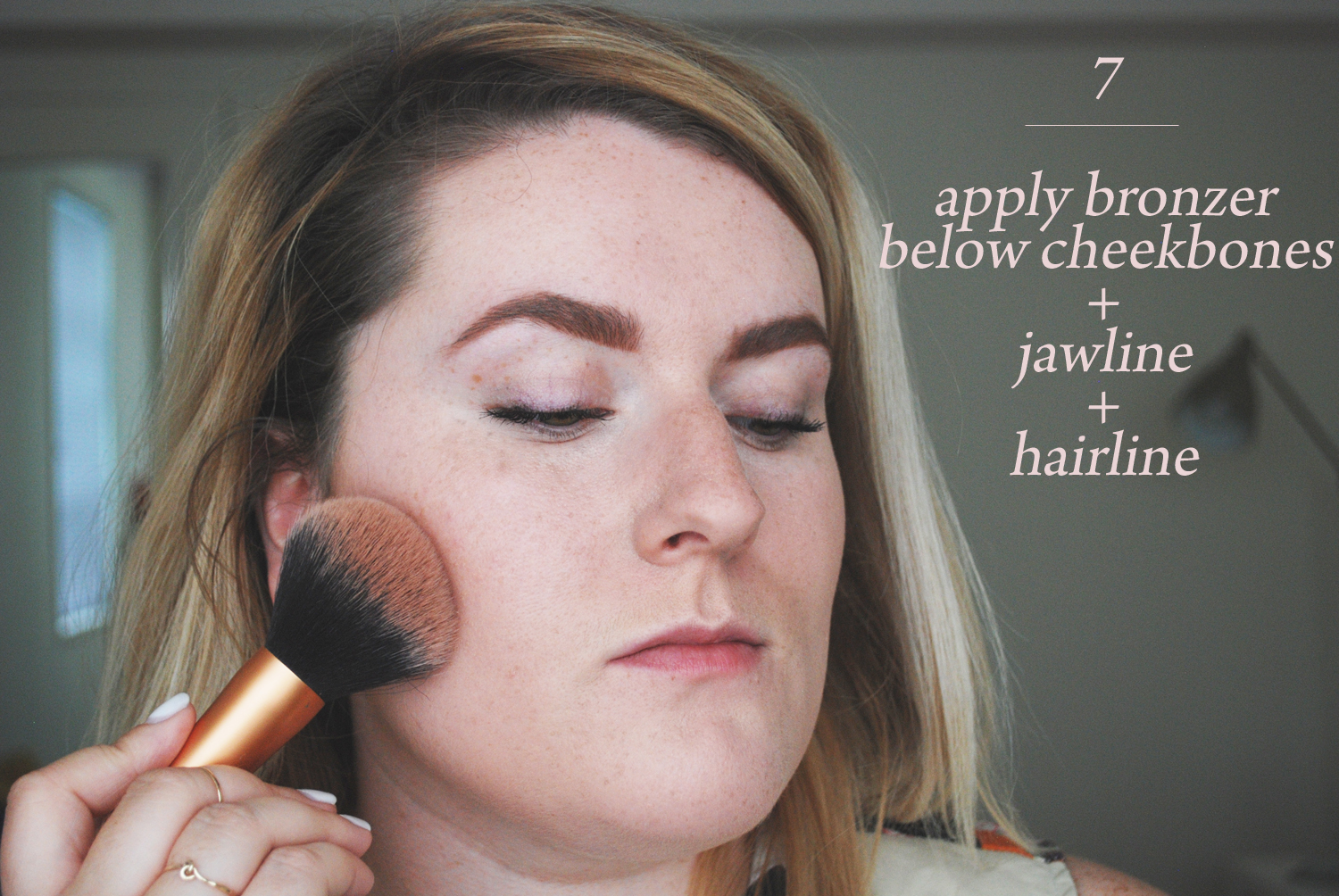 How to sun kissed glow makeup tutorial the wink blog using the same brush apply a shimmery bronzer yep i like to use shimmery bronzers for a glowy look in the hollows of your cheeks under your cheekbones ccuart Images